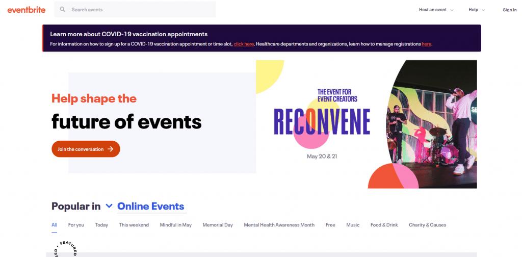Eventbrite home page