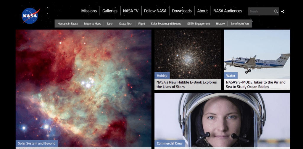 Nasa home page