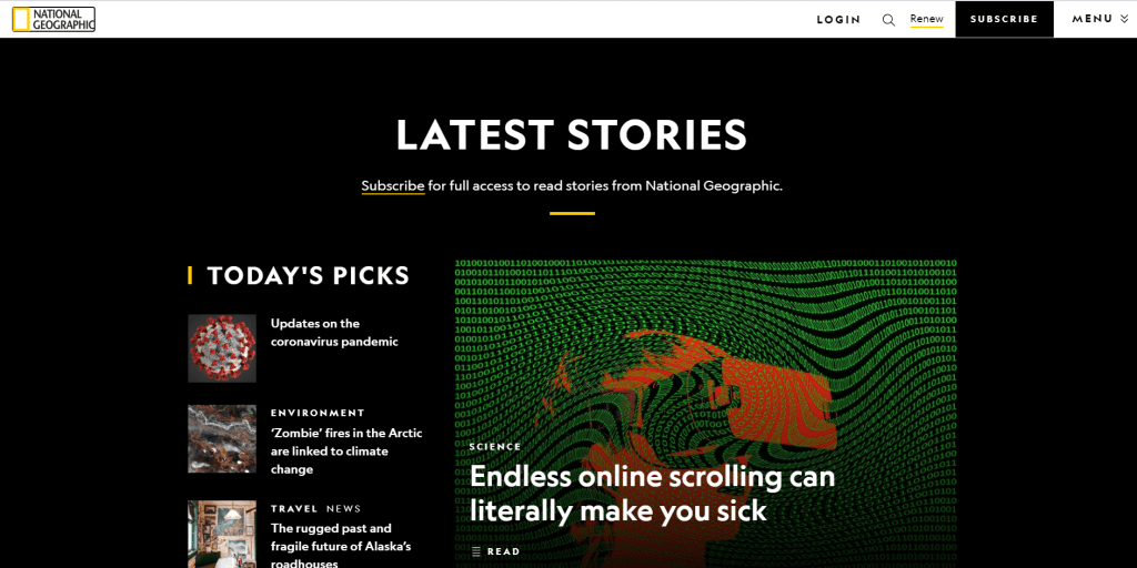 National Geographic home page
