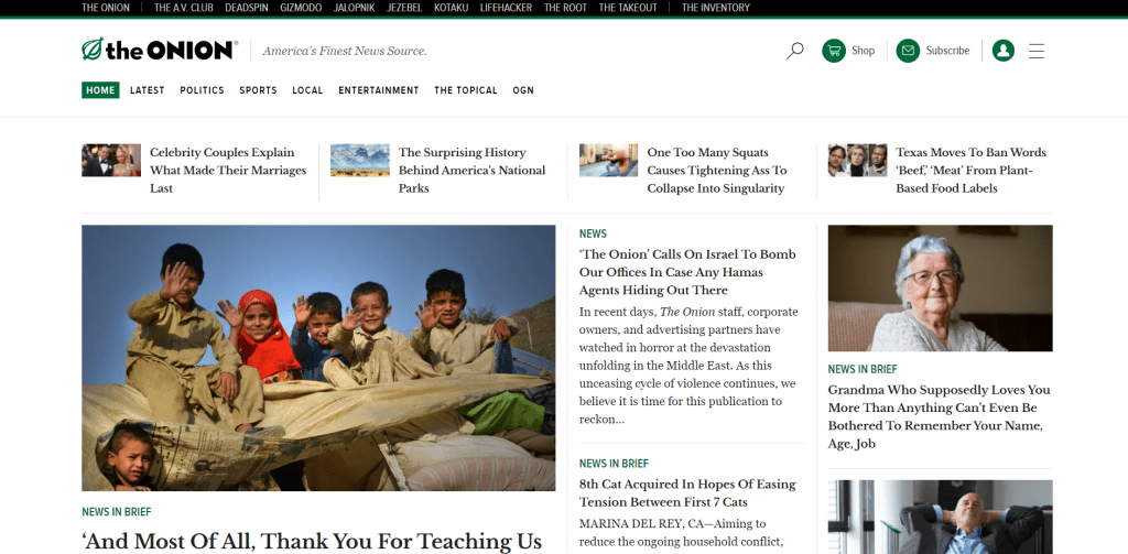 The Onion home page