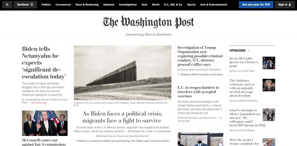 The Washington Post home page